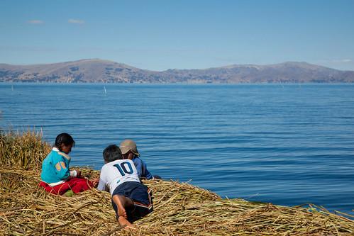 Children on the Uros Islands