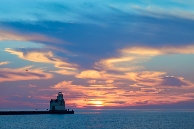 Kewaunee, Wisconsin, Lake Michigan, Sunrise, Blue, Clouds, Sunset