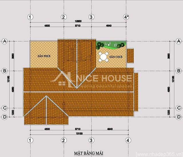 Thiết kế biệt thự 3 tầng 10x14m-tầng mái