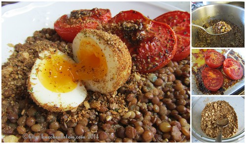 ©Roast Tomatoes and Lentils With Dukka-Crumbed Eggs