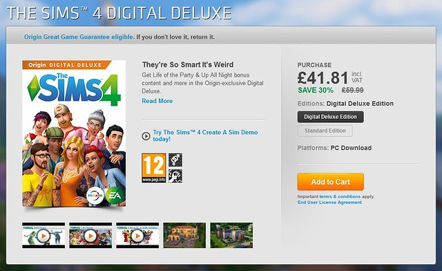Origin The Sims 4 Digital Deluxe