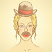 lily.kavliuk posted a photo:	Sketch cute woman with hat and mustache, vector vintage background