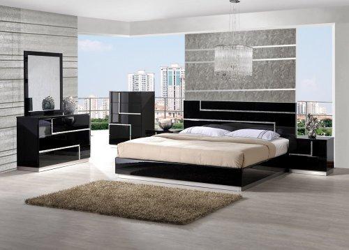 Black Lacquer Furniture – Moda Black Lacquer Queen Bedroom