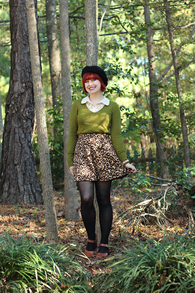 Olive Green Sweater, Leopard Skater Skirt, Brown Clogs, and a Beret