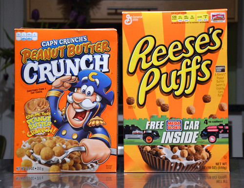 Peanut Butter galore with Cap'n Cunch's Peanut Butte Crunch and Resse's Puffs.