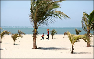 Mother and son on Banjul Beach
