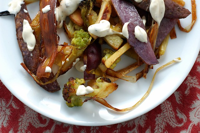 Roasted leeks, broccoflower, purple potatoes, sweet potatoes and parsnips by Eve Fox, The Garden of Eating, copyright 2014