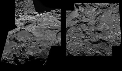 Rosetta landing sites C and J  from 30 km