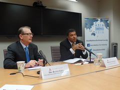 Dr. Bates Gill and Dr. Satu Limaye comment on questions posed by the audience during the Alliance 21 report discussion event at the East-West Center in Washington.
