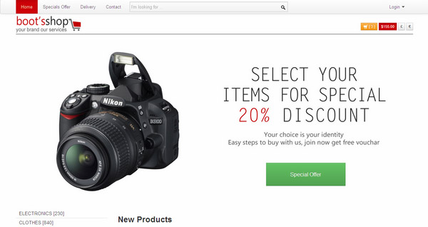 Boots Shop Free Ecommerce Template