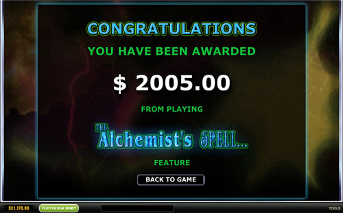 free The Alchemist's Spell feature award