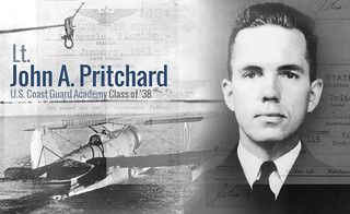 Pritchard served as pilot of the Coast Guard Cutter Northland's scout plane during the wartime Greenland patrol. He volunteered to fly to the rescue of an Army B-17 Flying Fortress bomber crew that had crashed on the frozen ice cap. Petty Officer 1st Class Benjamin Bottoms, a radioman aboard the Northland, volunteered to go with him.. As they headed back to the ship with an injured survivor, they sent a request for radio bearings but they were never heard from again. The partially buried wreckage of the Grumman was later spotted by an aircraft that was unable to reach the downed plane. Over time the treacherous climate of the area engulfed the wreckage and to this day their bodies have never been recovered.