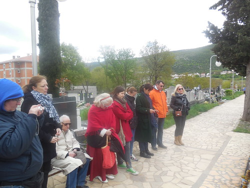 praying in front of Fr. Slavko's tomb Medjugorie 096