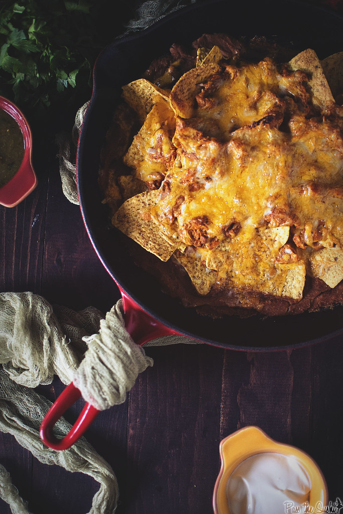 Chicken Enchilada Nachos || GirlCarnivore.com