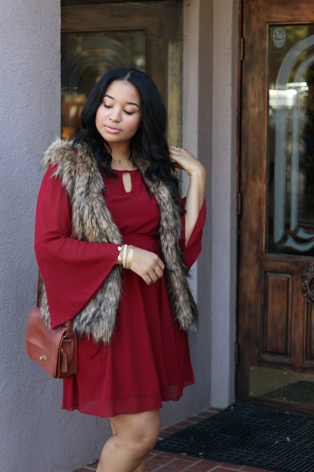 Burgundy Dress + Fur Vest