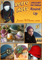 Retro Hats Crochet Pattern Round Up from Jessie At Home