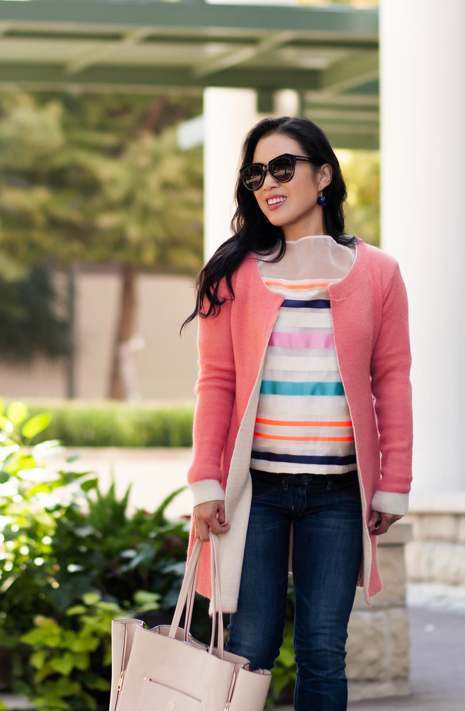 cute & little blog | petite fashion | maternity baby bump pregnant | sheinside pink cardigan, striped mesh top, citizens of humanity maternity skinny jeans, striped pumps | second trimester 26 weeks
