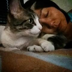 De ontem. Eu, o dia todo escondida no meu quarto escuro, com enxaqueca e um princípio de gripe. Ela, o dia todo ao meu lado, me fazendo companhia, cuidando de mim. ❤ #100happydays #day79