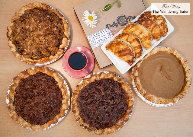 Wonderful fresh pies from Daly Pie (Brooklyn, NY) - Lumberjack Pie, Vermont Maple Pecan Pie, Chocolate Bourbon Pecan Pie, Pumpkin Pie, and Honey Fig & Blue Cheese Hand Pies