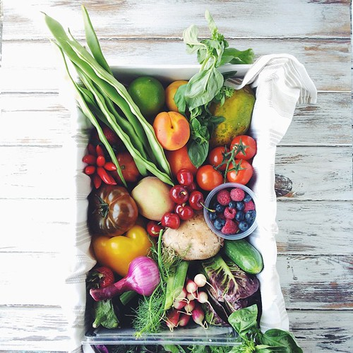 A gorgeous box of #summerfruitandveg just landed at my door - stay tuned for the next pic, I simply couldn't resist... Thanks @sydneymarkets I do adore summer! #greengrocerfresh