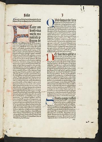 Decorated penwork initial in Biblia latina