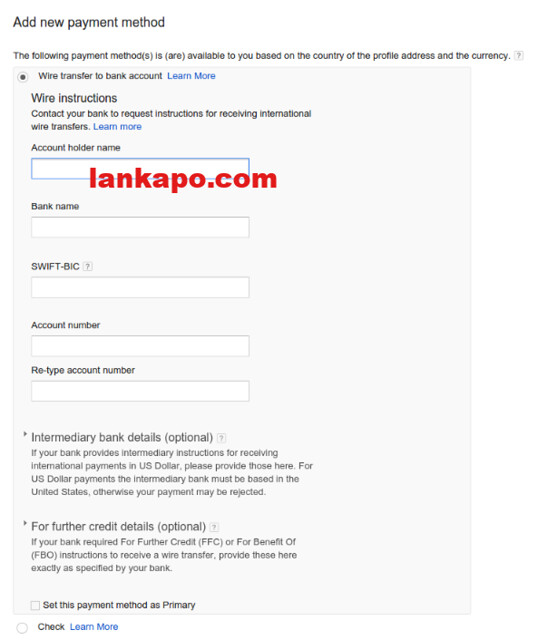 fill in bank information