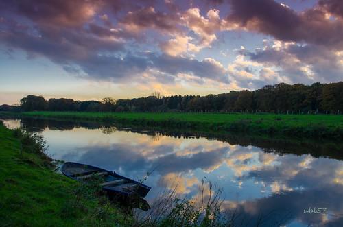 sunset clouds river boot boat herbst wolken fluss ems emsland lingen sonnenunergang