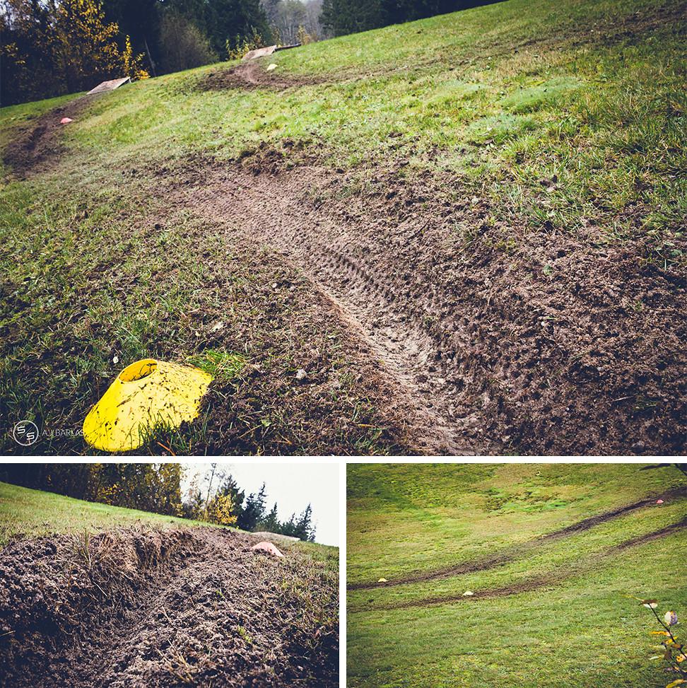 Grass Slalom corners, err, ruts
