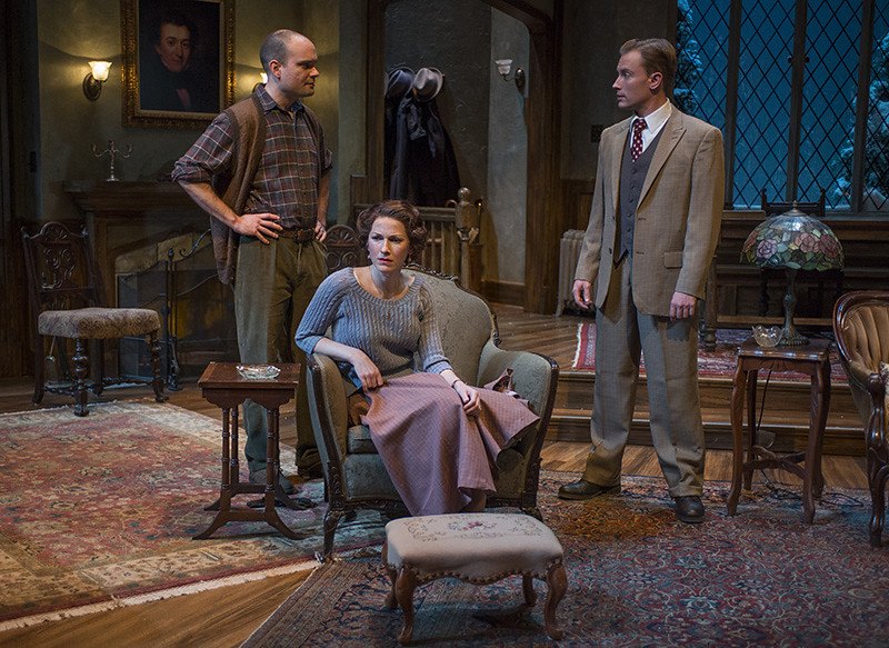 (L-r) Keith Neagle (Giles Ralston), Cora Vander Broek (Mollie Ralston), and Greg Matthew Anderson (Sergeant Trotter)