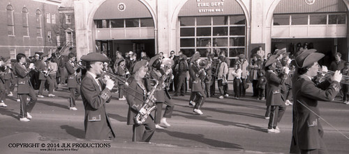 Tri-X Files 84_31.15a: MHS Band in front of the Fire Station (2/5)