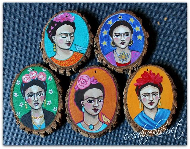 Frida Art Ornaments by Regina Lord