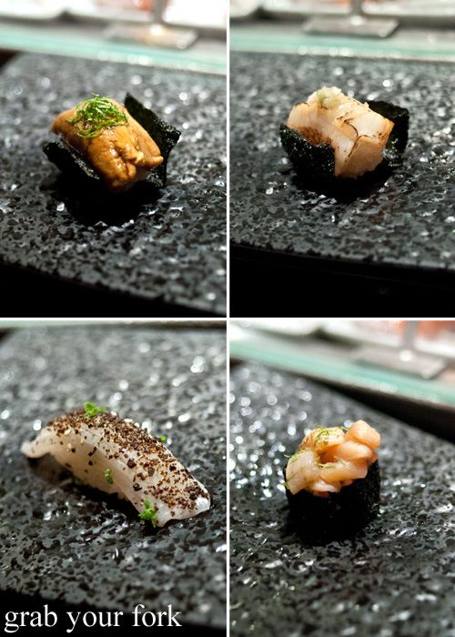 Tasmanian uni sea urchin, aburi scallop, marinated scallop abductor and raw cuttlefish sushi at Sokyo at The Star, Pyrmont