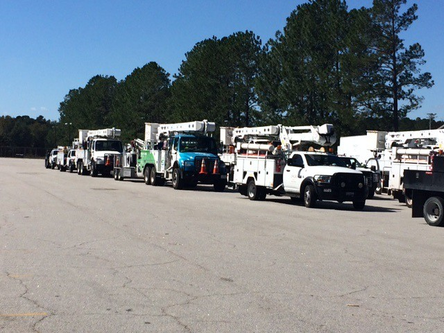 Trucks line up (2) to leave Ellabell, GA on 10.13.16