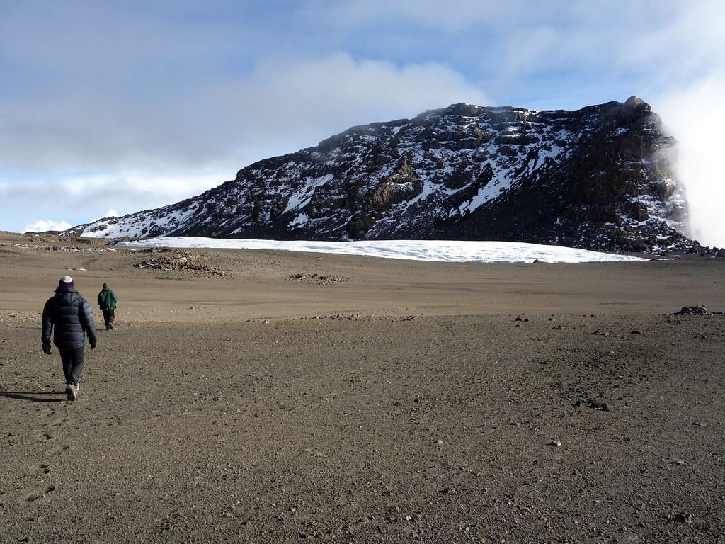 Approaching the Furtwangler Glacier, with Uhuru Peak rising above