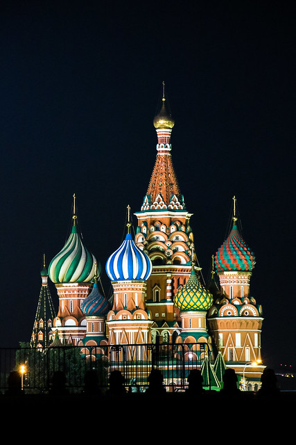 Fantastic Saint Basil's Cathedral at night, Moscow モスクワ、ライトアップされた聖ワシリー寺院