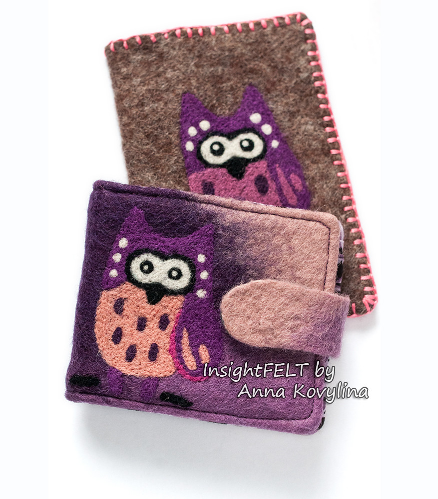Set - felted purse and passport cover with an owl.