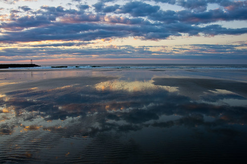 ocean morning summer seascape clouds sunrise reflections maine wells atlantic wellsbeach