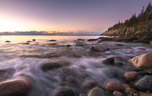 ocean longexposure travel blue trees usa seascape beach water horizontal clouds sunrise landscape nationalpark rocks unitedstates maine rocky visit atlantic explore boulders mountdesert