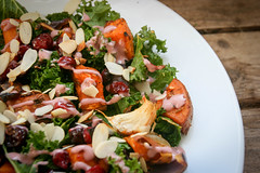Raw Kale Salad with Sweet Potatoes and Cranberries