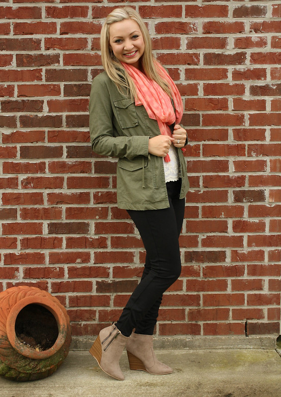 olive and coral fall outfit