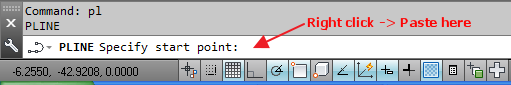 Paste the Coordinates to AutoCAD Command Line