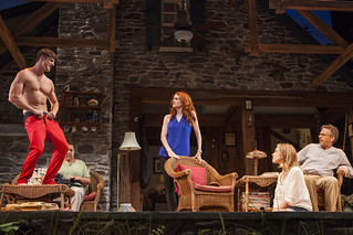 Tyler Lansing Weaks, Marcia DeBonia, Candy Buckley, Allison Layman, and Martin Moran in Christopher Durang's smash-hit Broadway comedy Vanya and Sonia and Masha and Spike, directed by Jessica Stone, based on the Broadway direction of Nicholas Martin, playing January 2 – February 1, 2015 at the BU Theatre / Avenue of the Arts. Photo: Jim Cox
