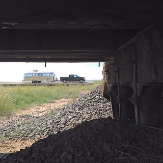 From under a railroad viaduct. #vintage #vintageairstream #airstream #airstreamdc2cali