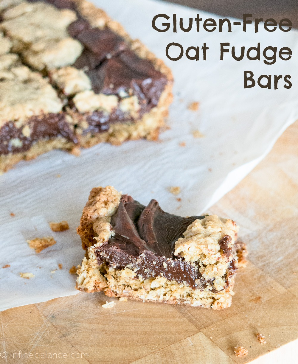 Oat Fudge Bars - Gluten-Free oats oat flour fudge chocolate