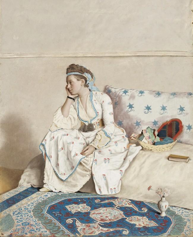 Jean-Étienne Liotard - Portret van Marie Fargues, echtgenote van de kunstenaar, in Turks kostuum
