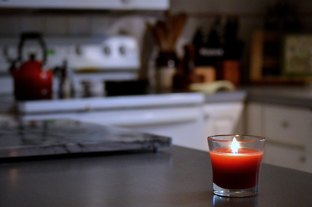 Candle in kitchen