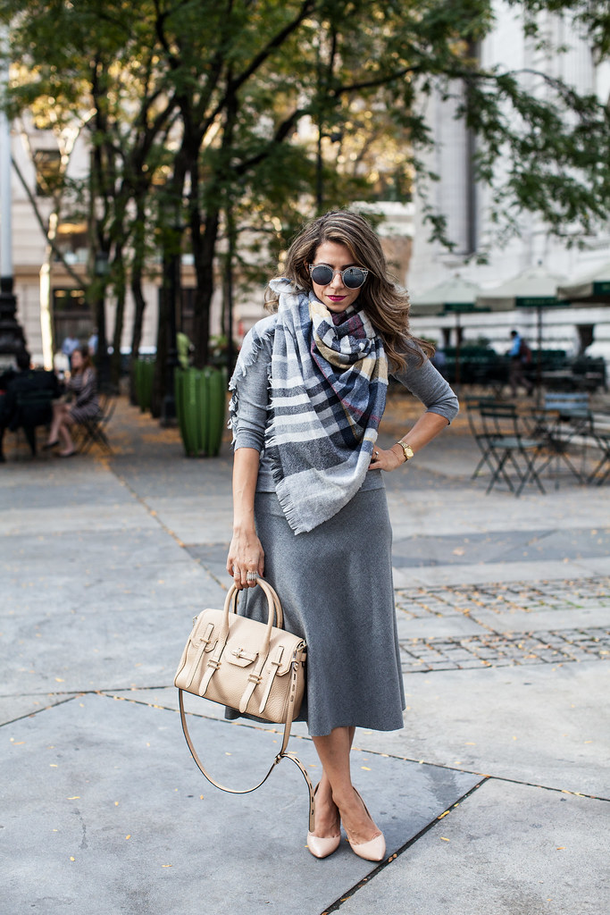 Layers of Gray outfit fall look layering rebecca minkoff jules dvf bethany heels jcrew scarf tartan scarf pink lipstick jcrew sweater midi skirt mirrored sunglasses fashion blogger zara nordstrom piperlime