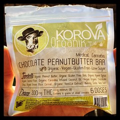 Korova Chocolate PeanutButter Bar Organic, Vegan , Gluten Free and Low Sugar! A great way to enjoy a higher dose edible made from quality ingredients. Peanut butter is a great source of protein, but can also be thick so I recommend a drink with this one.