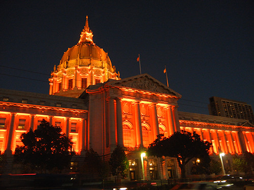DSCN7868 - San Francisco City Hall in SF Giants' Orange Glow