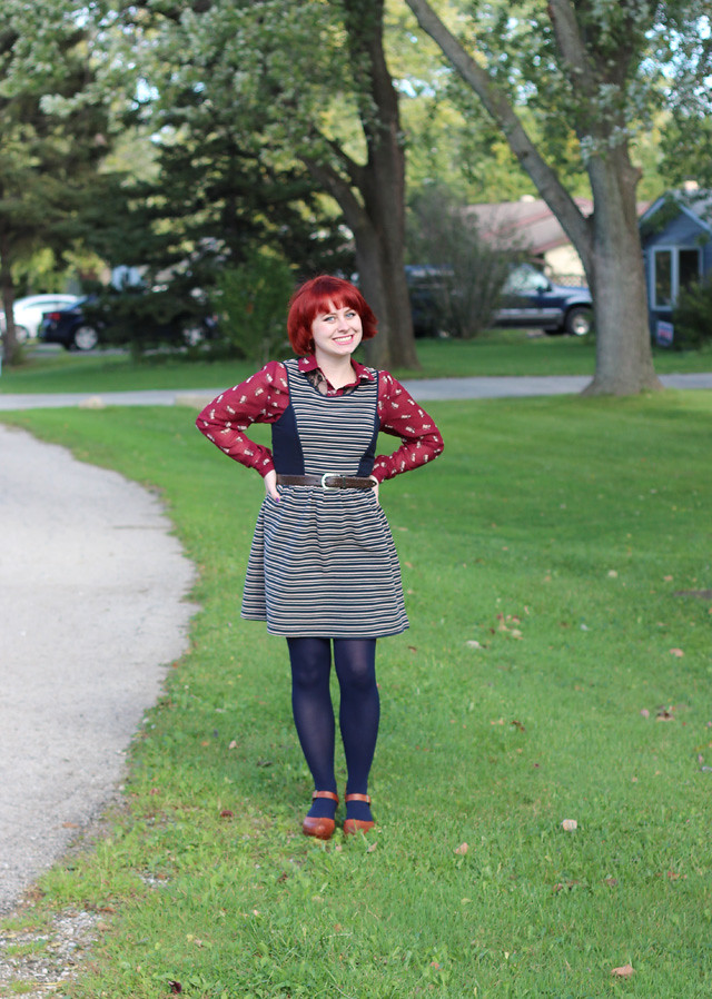Layering a Cat Print Button Down Top Underneath a Striped Fit and Flare Dress